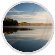 Misty Morning Round Beach Towel by Brent L Ander