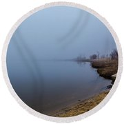 Misty Morning By The Lake Round Beach Towel