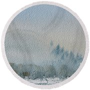 A Misty Morning Round Beach Towel