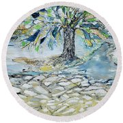 Misty Morning Round Beach Towel by Evelina Popilian