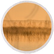 Misty Morning Floating Bog Island On Boy Lake Round Beach Towel