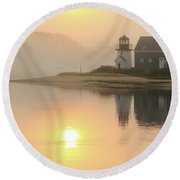 Round Beach Towel featuring the photograph Misty Morning Hyannis Harbor Lighthouse by Roupen  Baker