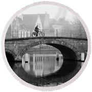 Misty Morning In Bruges  Round Beach Towel