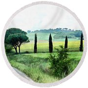 Misty Morning In Umbria Round Beach Towel