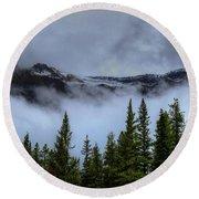 Misty Morning Jasper National Park Round Beach Towel