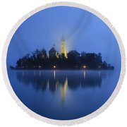Misty Morning Lake Bled Slovenia Round Beach Towel