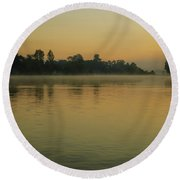 Misty Morning Lake Round Beach Towel