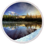 Round Beach Towel featuring the photograph Misty Morning Lake by William Lee