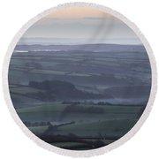 Misty Morning On Exmoor  Round Beach Towel