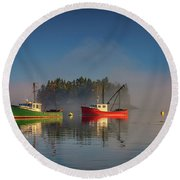 Round Beach Towel featuring the photograph Misty Morning On Johnson Bay by Rick Berk