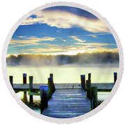 Round Beach Towel featuring the photograph Misty Morning On Rock Creek by Brian Wallace