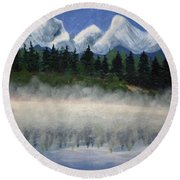 Misty Morning On The Mountain Round Beach Towel