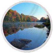 Misty Morning On The Pond Round Beach Towel