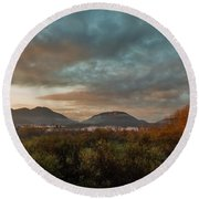 Misty Morning Over The San Diego River Round Beach Towel