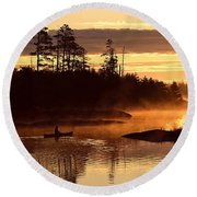 Misty Morning Paddle Round Beach Towel by Larry Ricker
