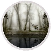 Misty Morning Reflections Round Beach Towel by Diane Schuster