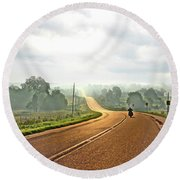 Misty Morning Ride Arkansas Round Beach Towel