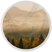Misty Morning Sunrise Over White Mountains National Forest Round Beach Towel