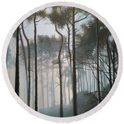 Misty Morning Walk Round Beach Towel