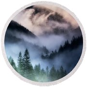 Misty Mornings Round Beach Towel