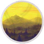 Misty Mountain Gold 01 Round Beach Towel