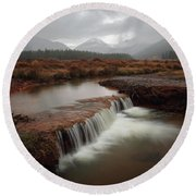 Misty Mountain Majesty  Round Beach Towel
