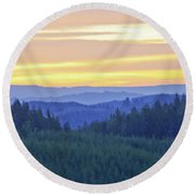 Misty Mountain Morning Round Beach Towel by Adria Trail