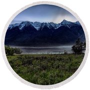 Round Beach Towel featuring the photograph Misty Mountain Morning Meadow  by Darcy Michaelchuk