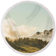 Misty Mountain Peaks Round Beach Towel