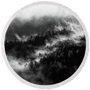 Misty Mountain Pines Round Beach Towel