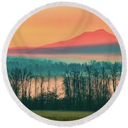 Misty Mountain Sunrise Part 2 Round Beach Towel by Alan Brown