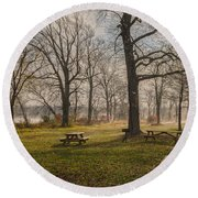 Misty November Picnic Grove Round Beach Towel