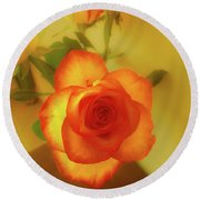 Misty Orange Rose Round Beach Towel