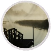 Misty Oregon Morning Round Beach Towel