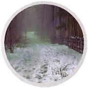 Misty Path #e5 Round Beach Towel by Leif Sohlman