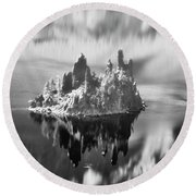 Round Beach Towel featuring the photograph Misty Phantom Ship Island Crater Lake B W  by Frank Wilson