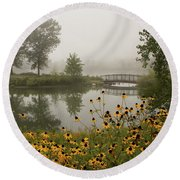 Misty Pond Bridge Reflection #3 Round Beach Towel