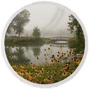 Misty Pond Bridge Reflection #3 Round Beach Towel