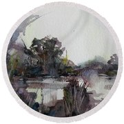 Round Beach Towel featuring the painting Misty Pond by Geni Gorani