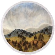 Misty Rain On The Mountain Round Beach Towel