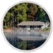 Round Beach Towel featuring the photograph Misty Reflection At Durant by George Randy Bass