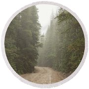 Round Beach Towel featuring the photograph Misty Road by James BO Insogna