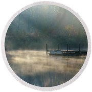 Round Beach Towel featuring the photograph Misty Sunrise by George Randy Bass