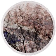 Misty Sunrise On Whidbey Island Round Beach Towel
