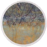 Misty Trees Round Beach Towel