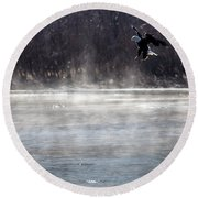 Misty Water Eagle Round Beach Towel