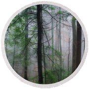 Misty Winter Forest Round Beach Towel