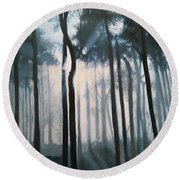 Misty Woods Round Beach Towel