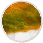 Misty Yellow Hue -lone Jacana Round Beach Towel