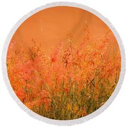 Misty Yellow Hue- Pink Blooms Round Beach Towel